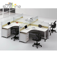Office cubicle workstation 4 seat glass partition MFC L shape tabletop with three pedestal