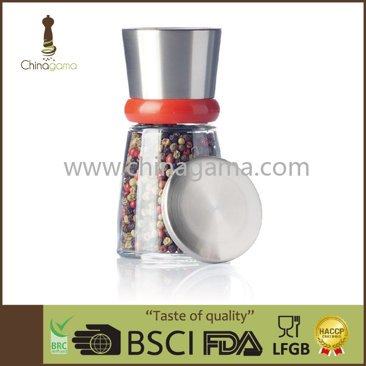 FDA Stainless Steel Pepper Mill with Red Ring and Glass Jar