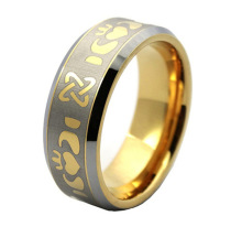 Stainless Steel Gold Inlay Arabic Engraved Ring Without Stone