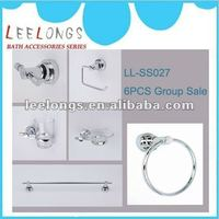 LL-SS027 zinc chrome plated 6pcs bathroom accessories set