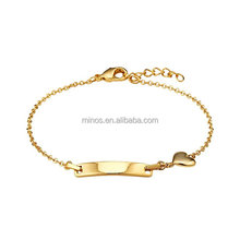 14k Gold Plated Baby ID Plain Heart Rolo Link Chain Bracelet