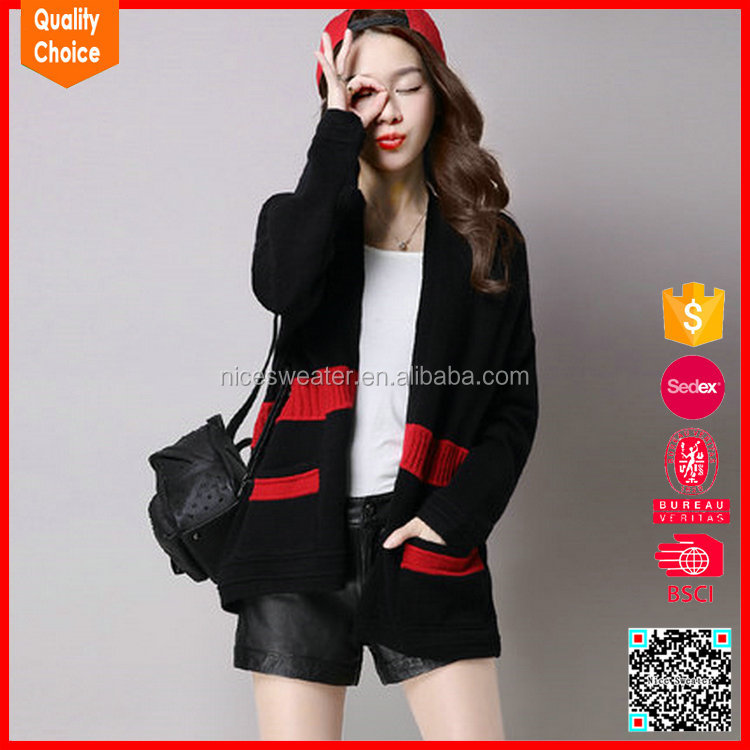 New design knitted sleeve lady cashmere winter coat sweater