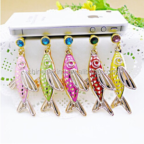 2015 fish style cell phone ear cap various phone jewelry accessory dust plug for women
