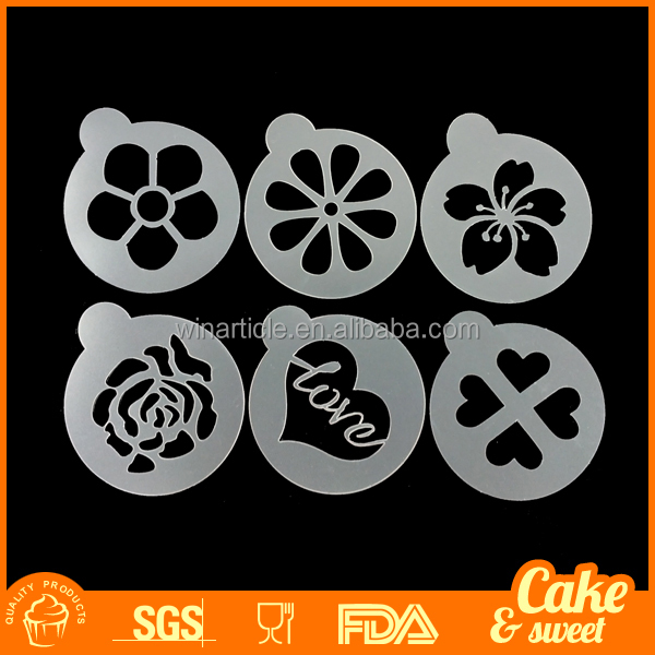 Food grade rose flower plastic cappuccino coffee stencil