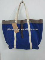 2014 new cotton canvas with leather trim canvas tote bag