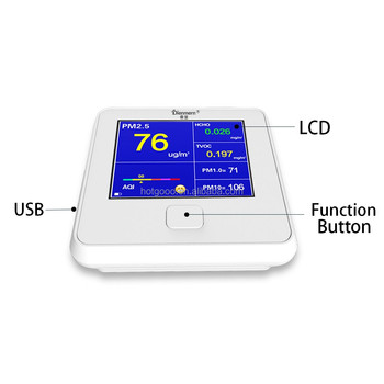 Langder DC 2200 Battery Operated Air Quality Monitor w/Accessories