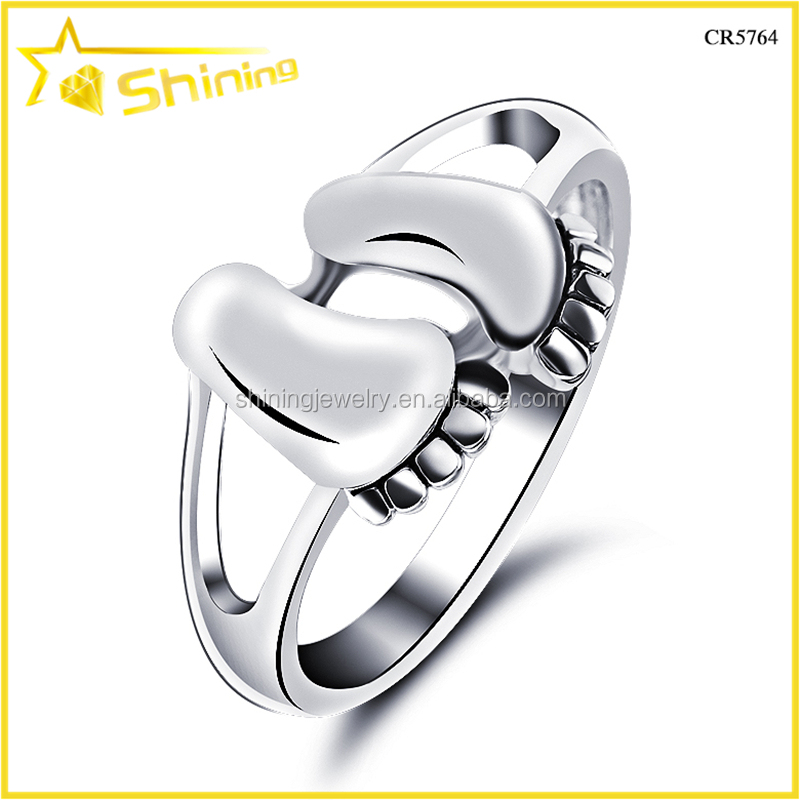 good quality solid silver women jewelry baby foot women ring