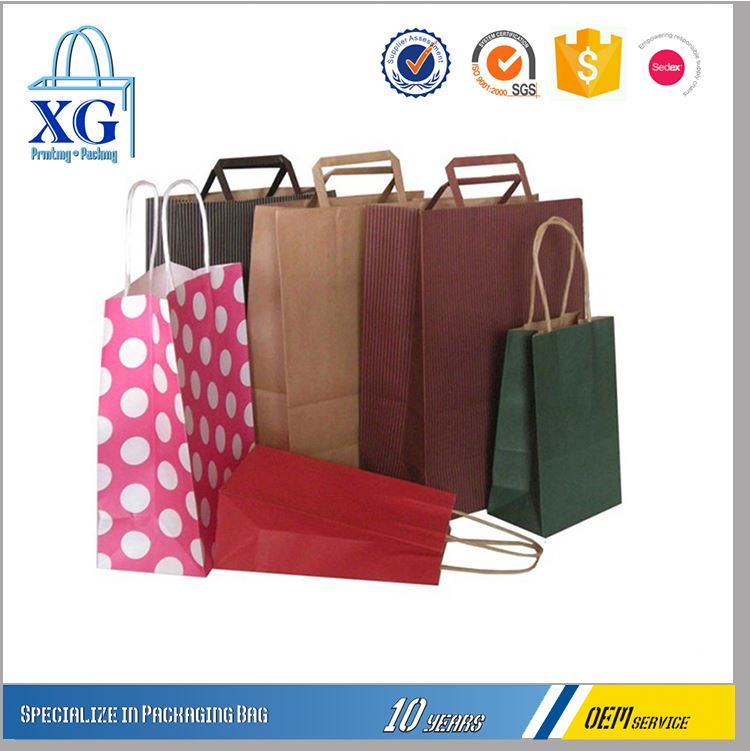 Latest Arrival superior quality reusable printed kraft paper bag with different size