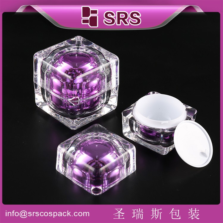 Hot Sale Plastic Square Shape Cosmetic Acrylic jar ,Clear Cosmetic jar