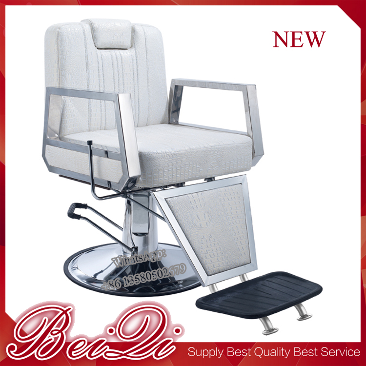 Metal Armrest Hydraulic Pump White Barber Chair with Footrest ,Portable Salon Chair Headrest