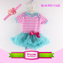 Wholesale hot pink striped chiffon skirt baby tutu dress summer toddler baby tutu rompers
