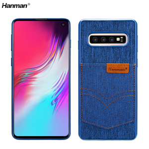 Credit Card Denim Mobile Phone Back Cover TPU Case for Samsung Galaxy S10