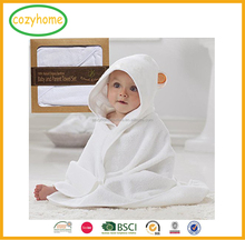 Sized for Infant and Toddler Soft Bamboo Baby Hooded Towel with Bear Ears In Plain White Color