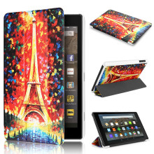 Tri-fold Torre Eiffel Kids Friendly PU Cubierta de Cuero para For Amazon Kindle Fire HD 8 Tablet Case