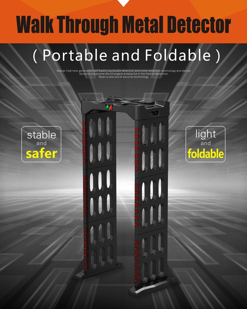 Portable walk-through metal detector 6 zone