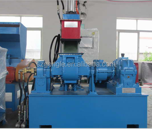 Kneader+Conical twin screw force feeder extruder+single screw extruder for PE,PP,PS,EVA+CaCo3,Talc ,TiO2 granule Extruder