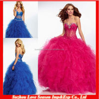 HE2021 Royal blue sheer beaded diamond boned top ruffled tulle ball gown floor length zipper back pretty Sexy Prom Dress