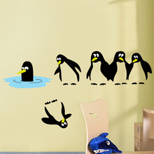 Penguin Animal Cartoon Character Kids Children's Room PVC Vinyl Decorative Home Wholesale Printing Wall Sticker