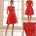 hot arrival sparkle sasn red short cap sleeve wedding dress