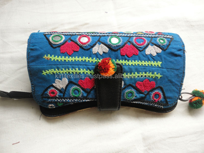 KTCB-12 Traditional Pakistani Zardozi Work Block Printed Lady Clutch Bags Fancy Bead Embroidery Floral Designer Item