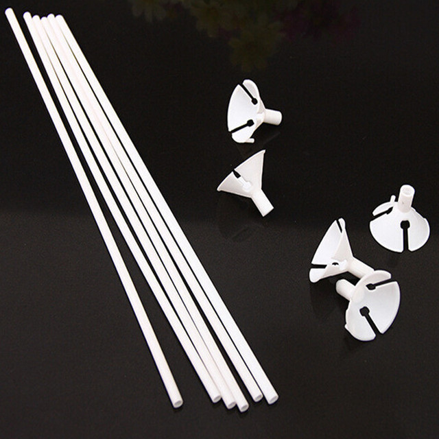 High quality 100sets/lot 32cm latex Balloon Stick  white PVC rods for Supplies Balloons Wedding balloon decoration accessories
