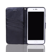 7G Wallet Folio Flip PU Leather Case Protective Shell Magnetic Back Cover Card Holder Slot for iPhone 7 with Wrist Strap