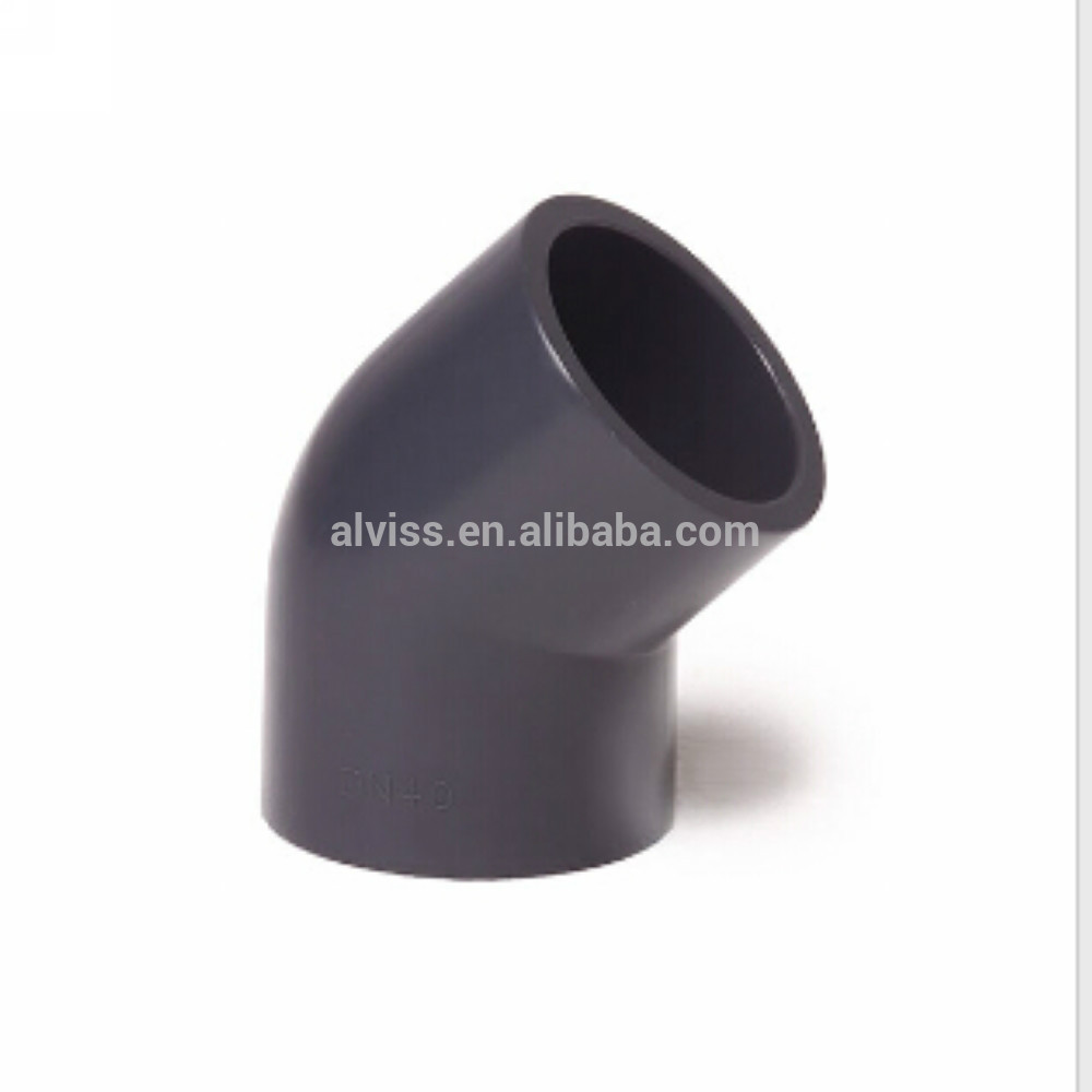 pvc pipe fitting 45 degree elbow