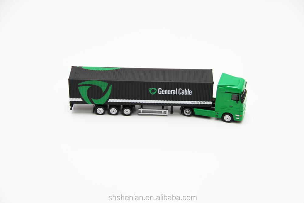 Scale 1:87, die cast miniature container truck promotional toy custom made, 20cm long