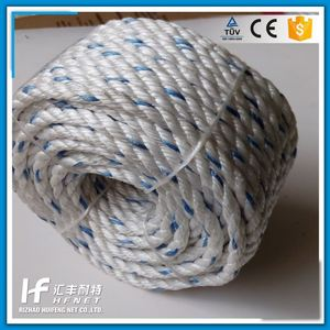 3-Strand Natural Jute Rope Twisted Yellow Pp Danline Rope