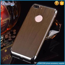 Hot selling electroplated frame wood style case plastic moblie phone case for iphone 7