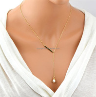 Simple Gold Tone Chain Metal Bar and Bead Y shape Short Necklace