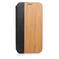 natural wood phone case with real leather, flip leather phone housing for samsung s5