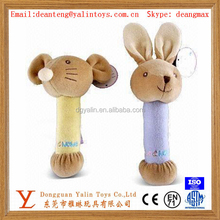 OEM custom latest design funny animal shaped plush&stuffed toys squeaky rattle for baby meet EN71&ASTM&3C ect standards