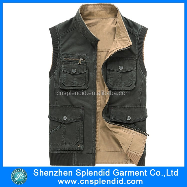 top quality customized cheap black mens denim vest