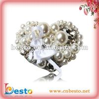 excellent hearted shape rhinestone pearl bridal shoe clips