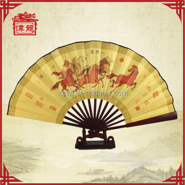 For men's folding hand fan frame with horses pictures GYS205
