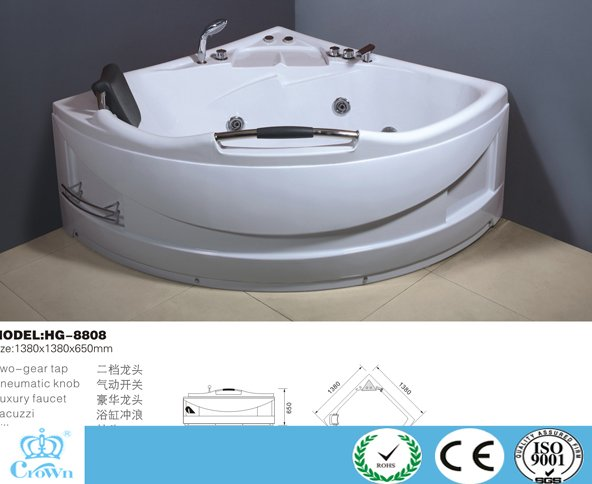 HG-8808 high quality factory prices relax massage round shape whirlpool jet surf bathtub ABS hot tubs