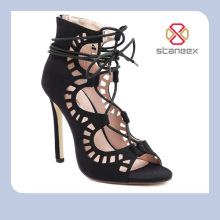 Fashionable Hollow Out European Style Sexy Fish Mouth High Heels Shoes Sandals