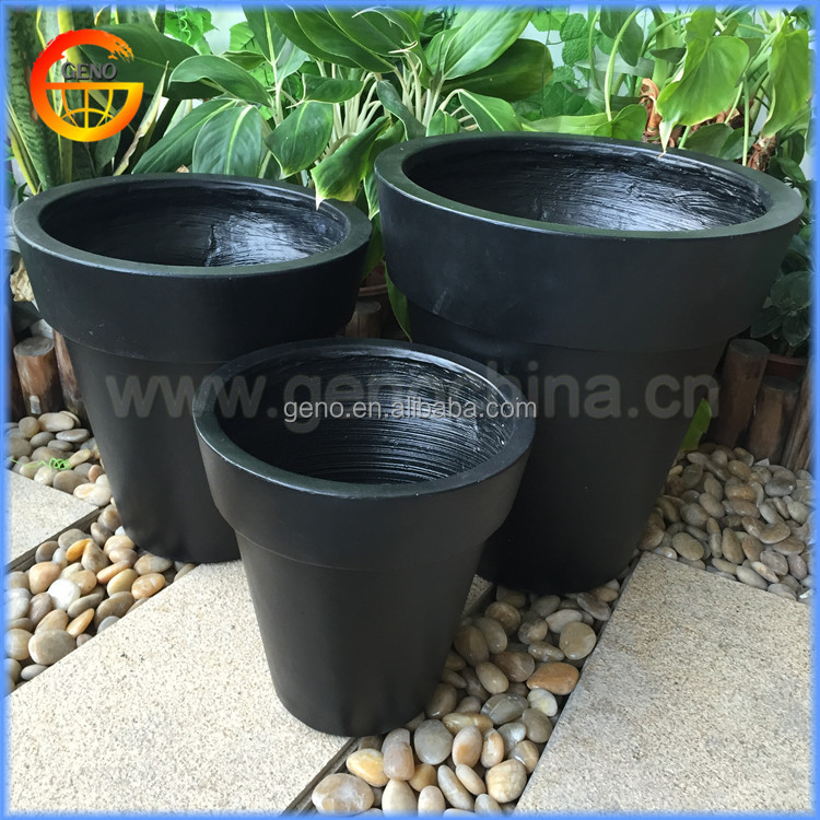 round tub planter flower pot with smooth finish black color painting