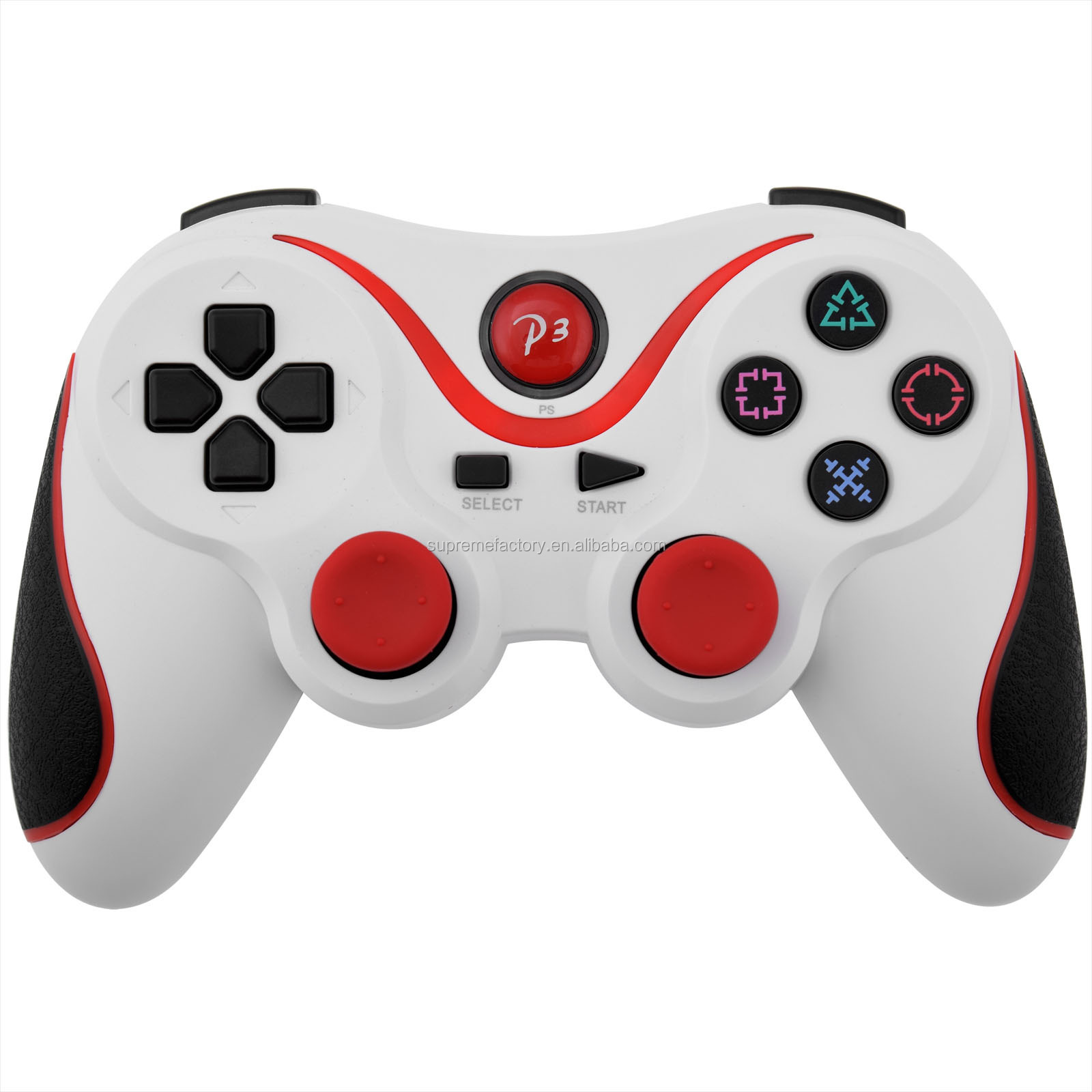 For Ps3 Dualshock White Red Joystick Double Shock Bluetooth Wireless Controller