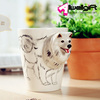 Creative Gift Folk Art 3d Animal Dog Handle Milk Tea Coffee Ceramic Cups