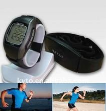 Exercise watch with heart rate chest strap