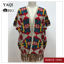 Jacquard Sleeveless Open Front Sweater for Women Tassels Cardigan Poncho