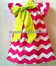 hot sale 2014 latest Baby peach color Chevron Dress wholesale A-line girls dress with beautiful bowknot