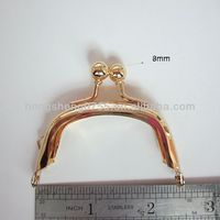 Small size clutch purse metal frame with kiss closure