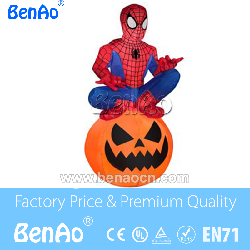 H041 3m Tall Spiderman Holding Pumpkin Halloween Airblown Inflatables/ Animated Halloween Inflatable Ghost on Pumpkin