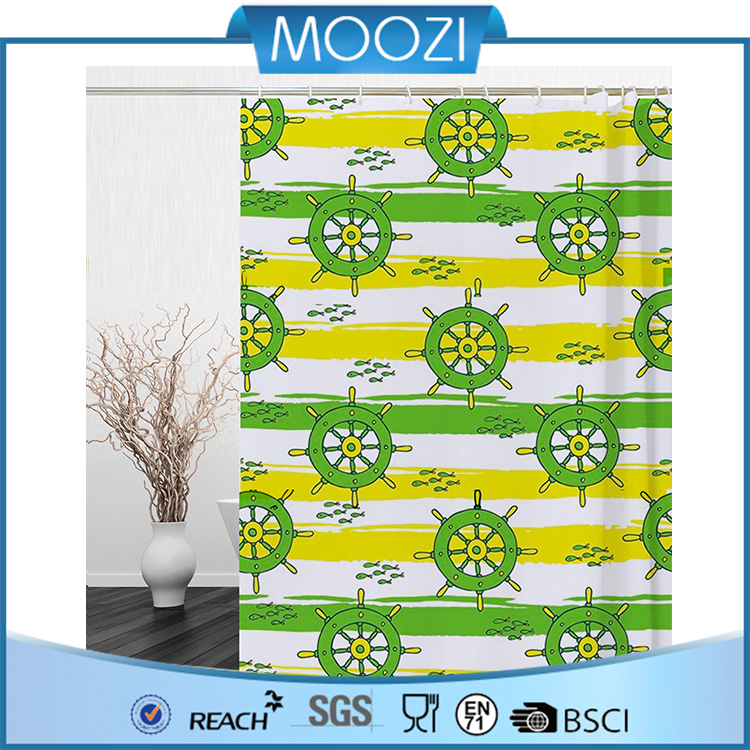 Water wheel Fabric Shower Curtains for baby