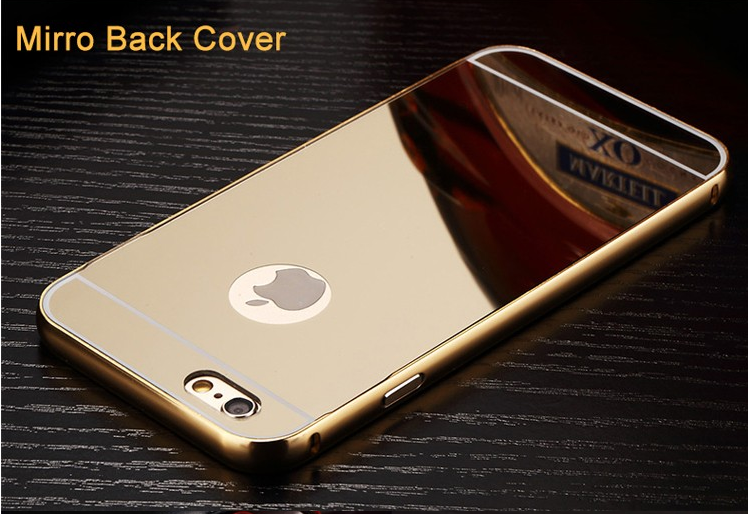 For iphone 6s case mirror back mobile phone case aluminum metal bumper with PC back cover for iphone 6 6s plus