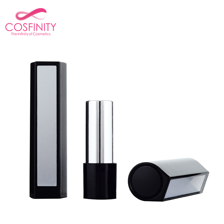 empty fancy metal lipstick tube case cardboard black mini lip balm packaging