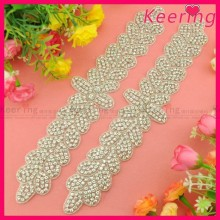 fashion clear rhinestone beaded bridal sash belt for wedding dress WRA-732